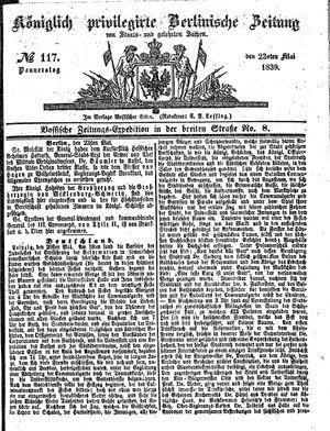 Königlich privilegirte Berlinische Zeitung von Staats- und gelehrten Sachen vom 23.05.1839