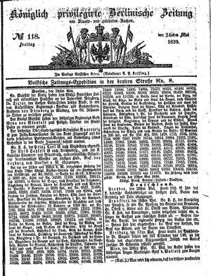 Königlich privilegirte Berlinische Zeitung von Staats- und gelehrten Sachen vom 24.05.1839
