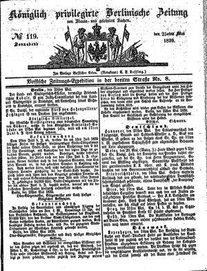 Königlich privilegirte Berlinische Zeitung von Staats- und gelehrten Sachen vom 25.05.1839