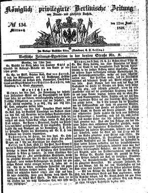 Königlich privilegirte Berlinische Zeitung von Staats- und gelehrten Sachen vom 12.06.1839