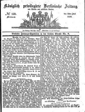 Königlich privilegirte Berlinische Zeitung von Staats- und gelehrten Sachen vom 19.06.1839