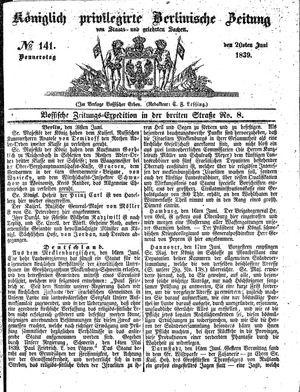 Königlich privilegirte Berlinische Zeitung von Staats- und gelehrten Sachen vom 20.06.1839