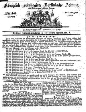 Königlich privilegirte Berlinische Zeitung von Staats- und gelehrten Sachen vom 21.06.1839
