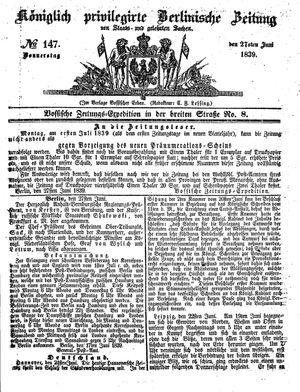 Königlich privilegirte Berlinische Zeitung von Staats- und gelehrten Sachen vom 27.06.1839