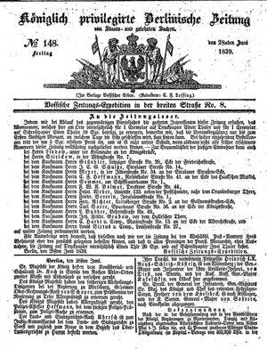 Königlich privilegirte Berlinische Zeitung von Staats- und gelehrten Sachen on Jun 28, 1839