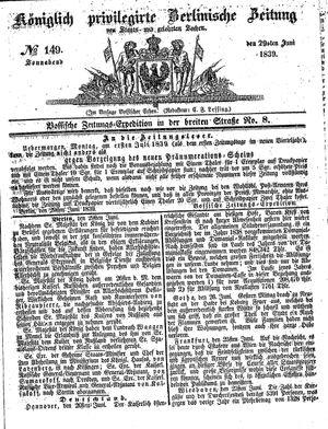 Königlich privilegirte Berlinische Zeitung von Staats- und gelehrten Sachen vom 29.06.1839