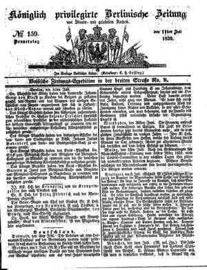 Königlich privilegirte Berlinische Zeitung von Staats- und gelehrten Sachen vom 11.07.1839
