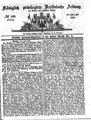 Königlich privilegirte Berlinische Zeitung von Staats- und gelehrten Sachen vom 12.07.1839