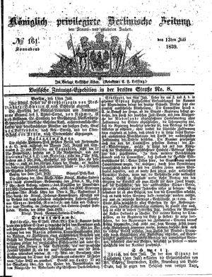 Königlich privilegirte Berlinische Zeitung von Staats- und gelehrten Sachen vom 13.07.1839