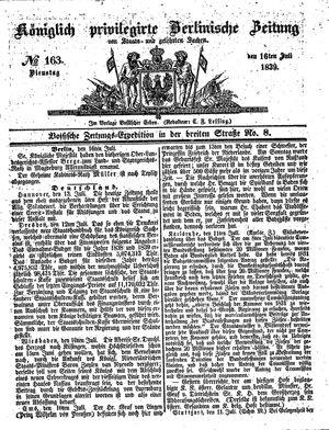 Königlich privilegirte Berlinische Zeitung von Staats- und gelehrten Sachen vom 16.07.1839