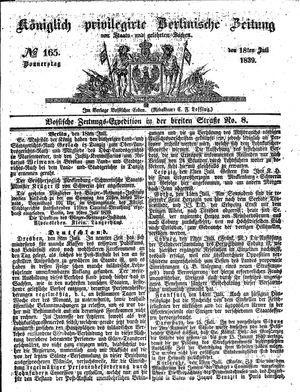 Königlich privilegirte Berlinische Zeitung von Staats- und gelehrten Sachen vom 18.07.1839
