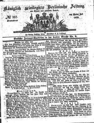 Königlich privilegirte Berlinische Zeitung von Staats- und gelehrten Sachen vom 20.07.1839
