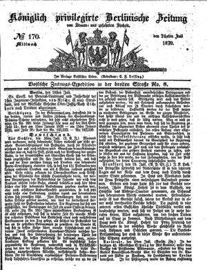 Königlich privilegirte Berlinische Zeitung von Staats- und gelehrten Sachen vom 24.07.1839