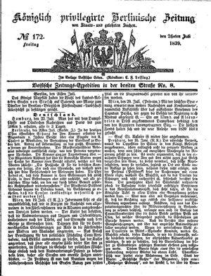 Königlich privilegirte Berlinische Zeitung von Staats- und gelehrten Sachen vom 26.07.1839