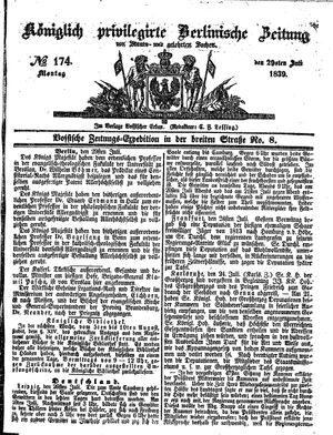 Königlich privilegirte Berlinische Zeitung von Staats- und gelehrten Sachen vom 29.07.1839
