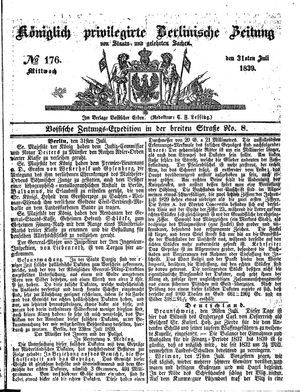 Königlich privilegirte Berlinische Zeitung von Staats- und gelehrten Sachen vom 31.07.1839