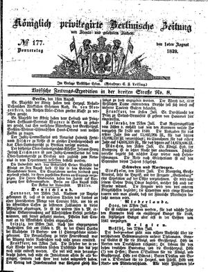 Königlich privilegirte Berlinische Zeitung von Staats- und gelehrten Sachen vom 01.08.1839