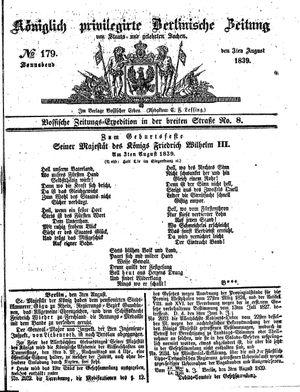 Königlich privilegirte Berlinische Zeitung von Staats- und gelehrten Sachen vom 03.08.1839