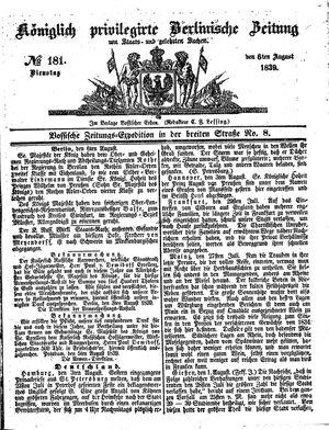 Königlich privilegirte Berlinische Zeitung von Staats- und gelehrten Sachen vom 06.08.1839