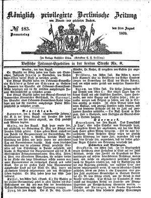 Königlich privilegirte Berlinische Zeitung von Staats- und gelehrten Sachen vom 08.08.1839