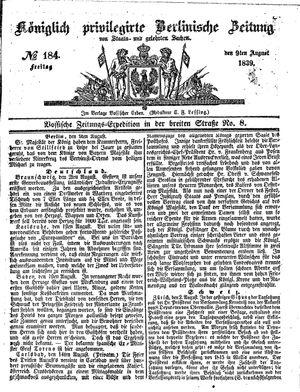Königlich privilegirte Berlinische Zeitung von Staats- und gelehrten Sachen vom 09.08.1839