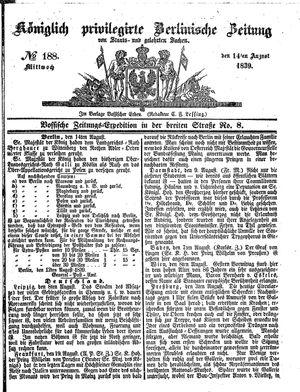 Königlich privilegirte Berlinische Zeitung von Staats- und gelehrten Sachen on Aug 14, 1839