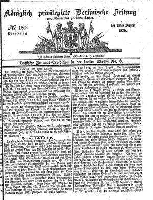 Königlich privilegirte Berlinische Zeitung von Staats- und gelehrten Sachen vom 15.08.1839
