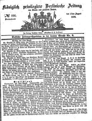 Königlich privilegirte Berlinische Zeitung von Staats- und gelehrten Sachen on Aug 17, 1839