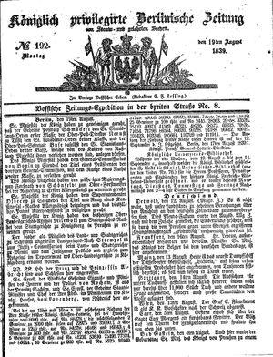 Königlich privilegirte Berlinische Zeitung von Staats- und gelehrten Sachen vom 19.08.1839