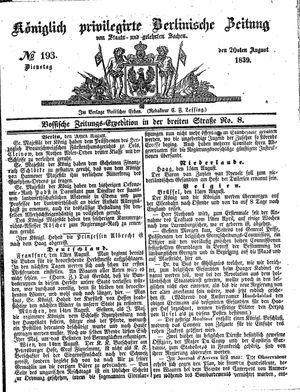 Königlich privilegirte Berlinische Zeitung von Staats- und gelehrten Sachen vom 20.08.1839