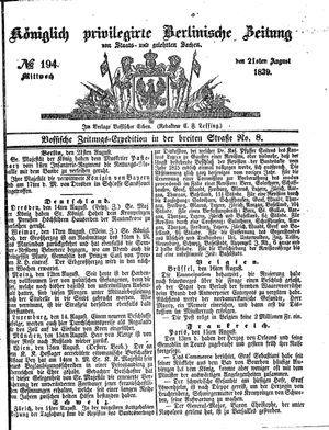 Königlich privilegirte Berlinische Zeitung von Staats- und gelehrten Sachen vom 21.08.1839
