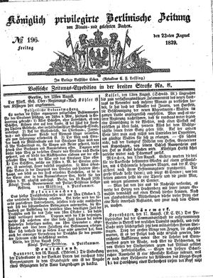 Königlich privilegirte Berlinische Zeitung von Staats- und gelehrten Sachen vom 23.08.1839
