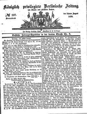 Königlich privilegirte Berlinische Zeitung von Staats- und gelehrten Sachen vom 24.08.1839