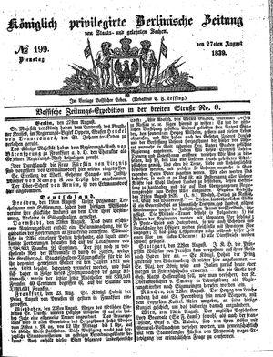 Königlich privilegirte Berlinische Zeitung von Staats- und gelehrten Sachen vom 27.08.1839