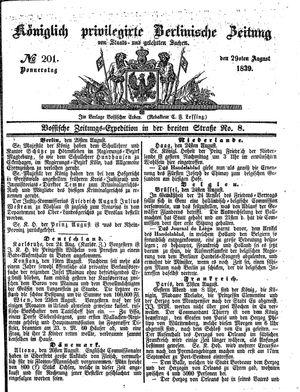 Königlich privilegirte Berlinische Zeitung von Staats- und gelehrten Sachen vom 29.08.1839