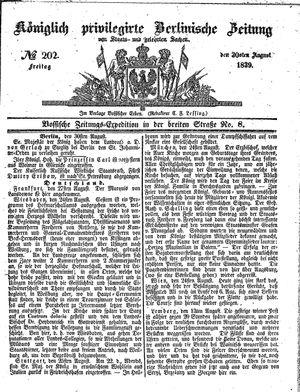 Königlich privilegirte Berlinische Zeitung von Staats- und gelehrten Sachen vom 30.08.1839