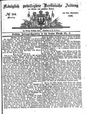 Königlich privilegirte Berlinische Zeitung von Staats- und gelehrten Sachen vom 02.09.1839
