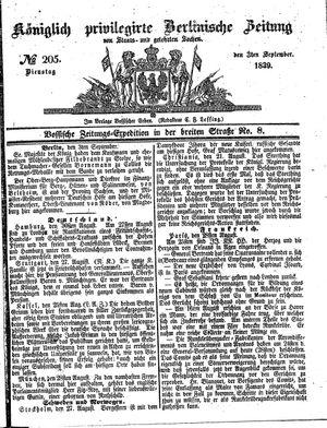 Königlich privilegirte Berlinische Zeitung von Staats- und gelehrten Sachen vom 03.09.1839