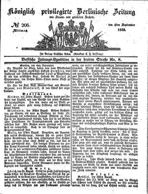 Königlich privilegirte Berlinische Zeitung von Staats- und gelehrten Sachen vom 04.09.1839