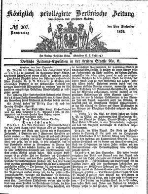 Königlich privilegirte Berlinische Zeitung von Staats- und gelehrten Sachen vom 05.09.1839