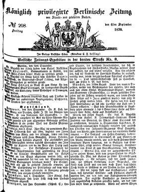 Königlich privilegirte Berlinische Zeitung von Staats- und gelehrten Sachen vom 06.09.1839
