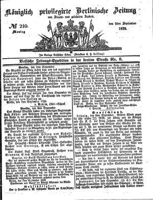 Königlich privilegirte Berlinische Zeitung von Staats- und gelehrten Sachen vom 09.09.1839