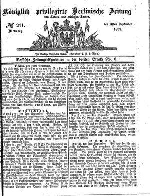 Königlich privilegirte Berlinische Zeitung von Staats- und gelehrten Sachen vom 10.09.1839