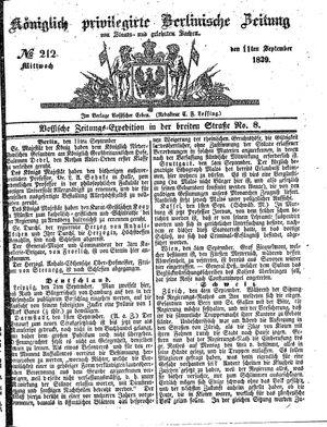 Königlich privilegirte Berlinische Zeitung von Staats- und gelehrten Sachen vom 11.09.1839