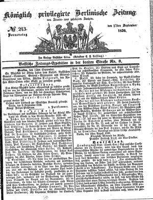 Königlich privilegirte Berlinische Zeitung von Staats- und gelehrten Sachen on Sep 12, 1839