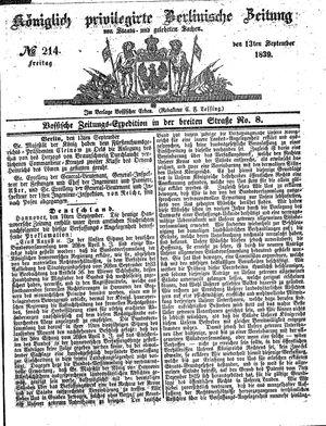 Königlich privilegirte Berlinische Zeitung von Staats- und gelehrten Sachen vom 13.09.1839