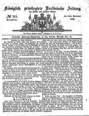 Königlich privilegirte Berlinische Zeitung von Staats- und gelehrten Sachen vom 14.09.1839