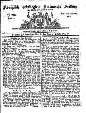 Königlich privilegirte Berlinische Zeitung von Staats- und gelehrten Sachen vom 16.09.1839