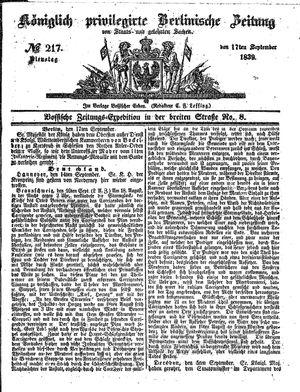 Königlich privilegirte Berlinische Zeitung von Staats- und gelehrten Sachen vom 17.09.1839