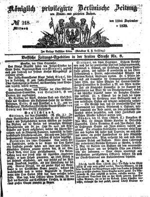 Königlich privilegirte Berlinische Zeitung von Staats- und gelehrten Sachen on Sep 18, 1839